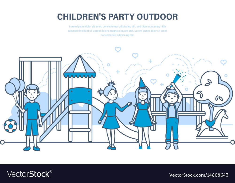 Children party outdoor on the playground