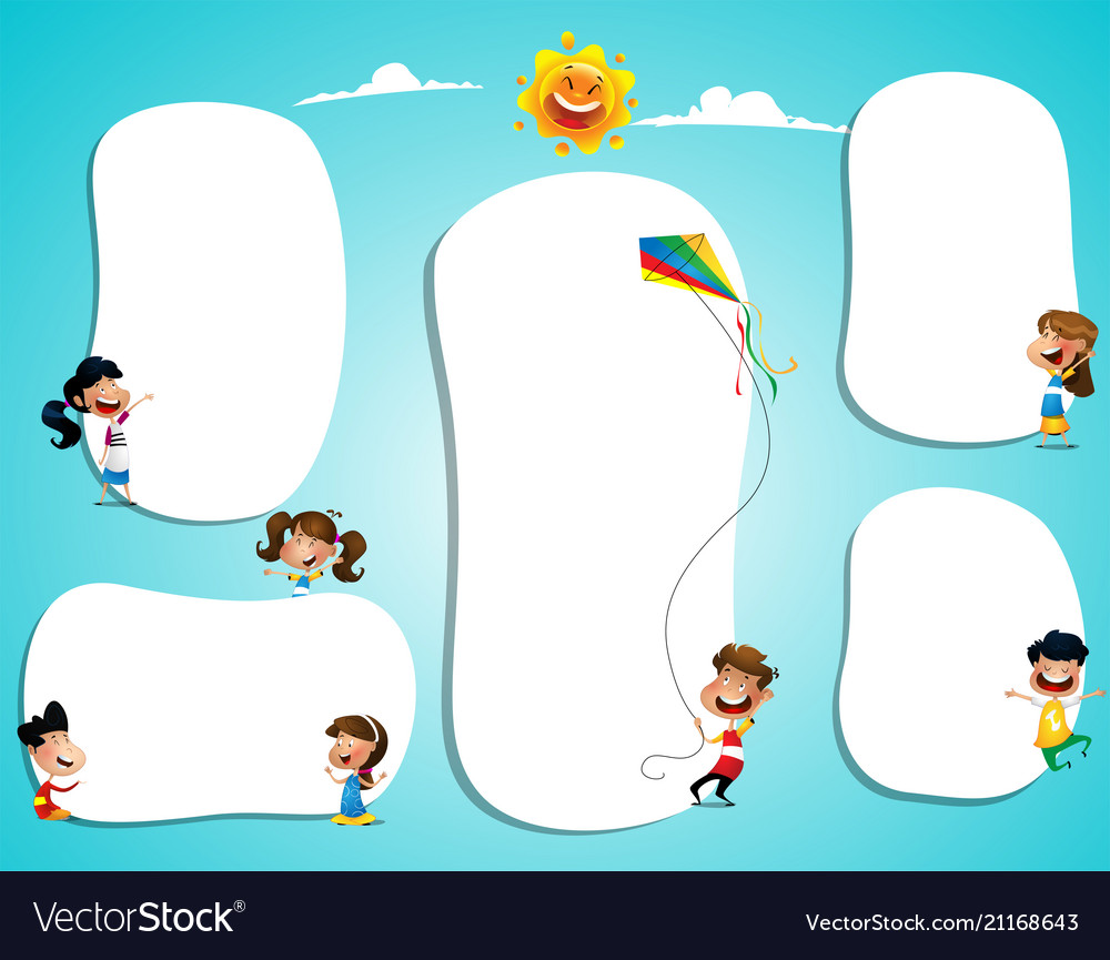 Different children with blank posters with space