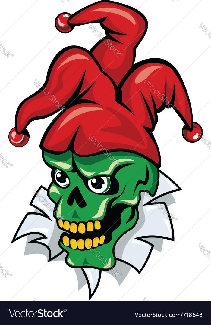 Joker skull cartoon vector image
