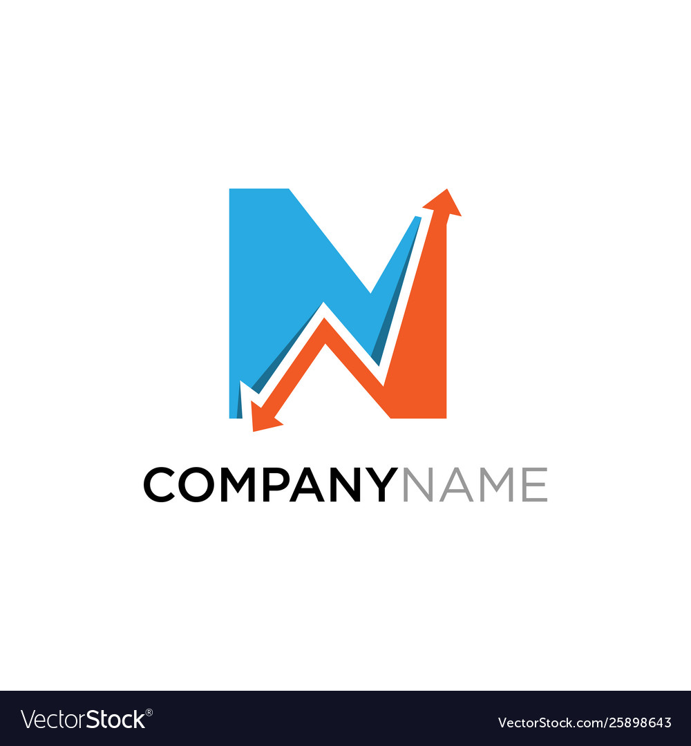Letter n business finance logo design template