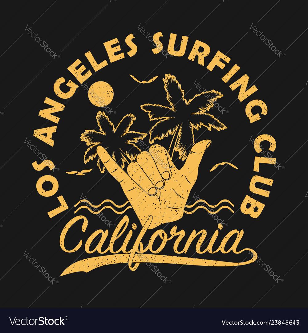 Los angeles surfing club california grunge print