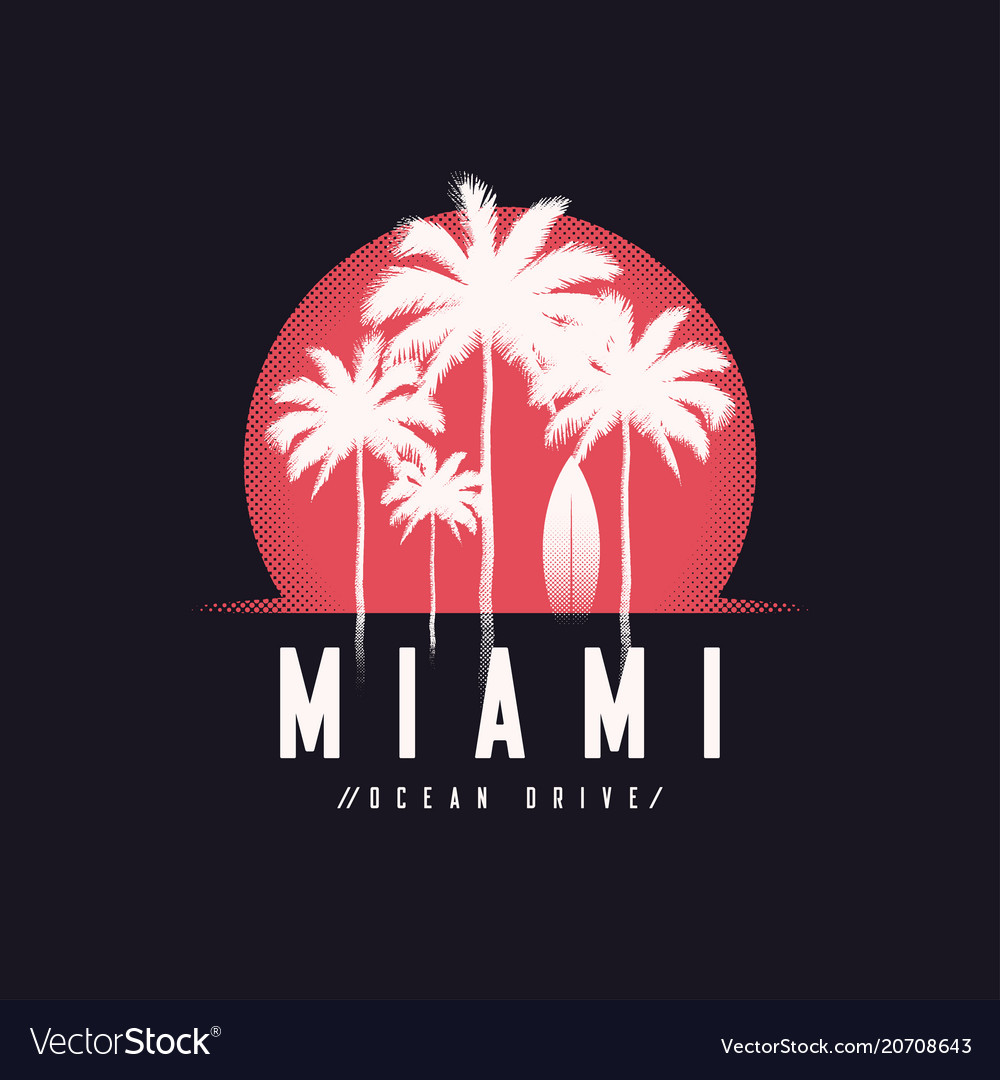 Miami ocean drive tee print with palm trees t