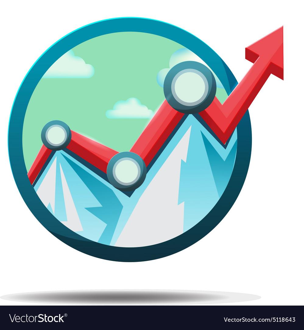 Mountain Stock Market Icon Symbol Royalty Free Vector Image