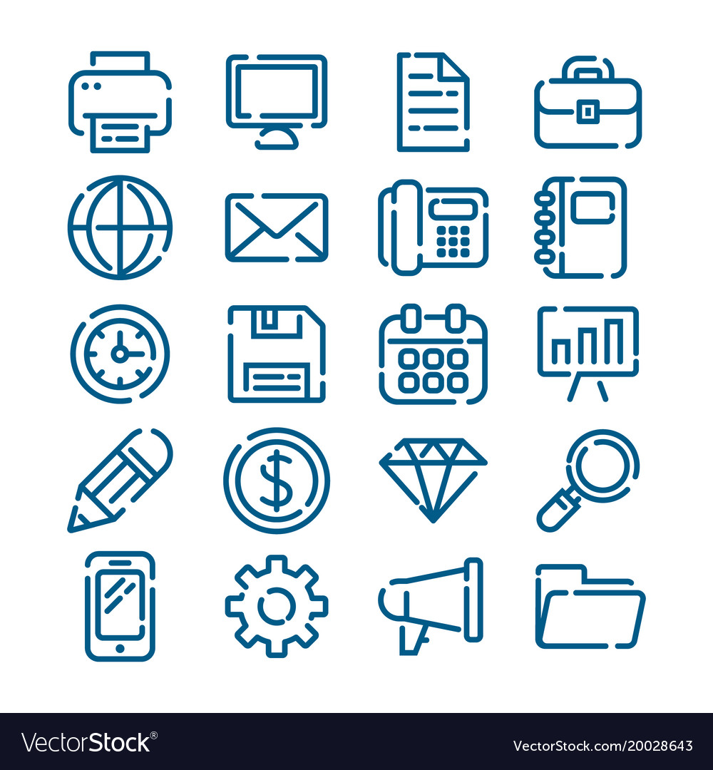 Office business and finance outline icons