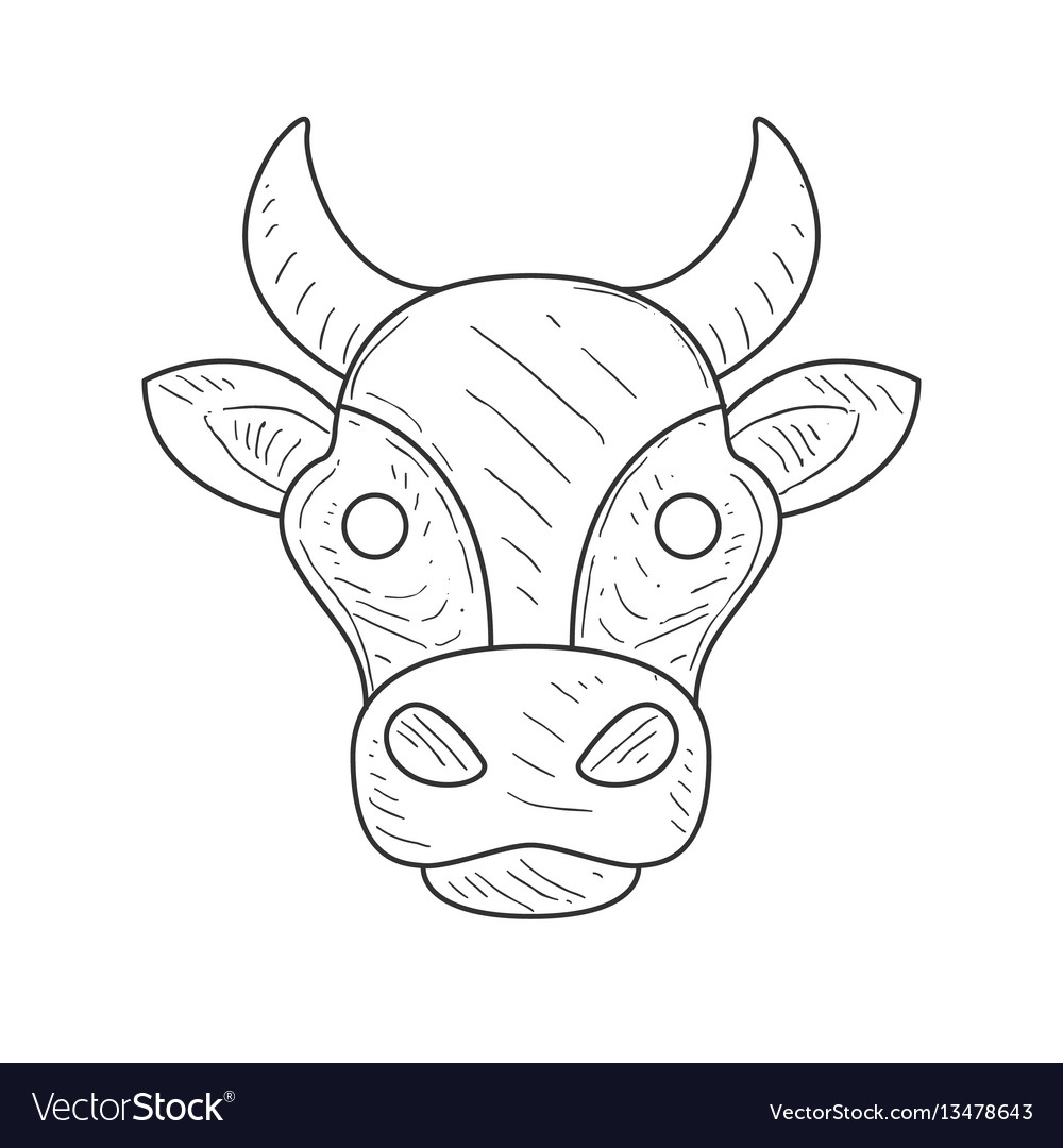 Pencil sketch with isolated cows head in black and