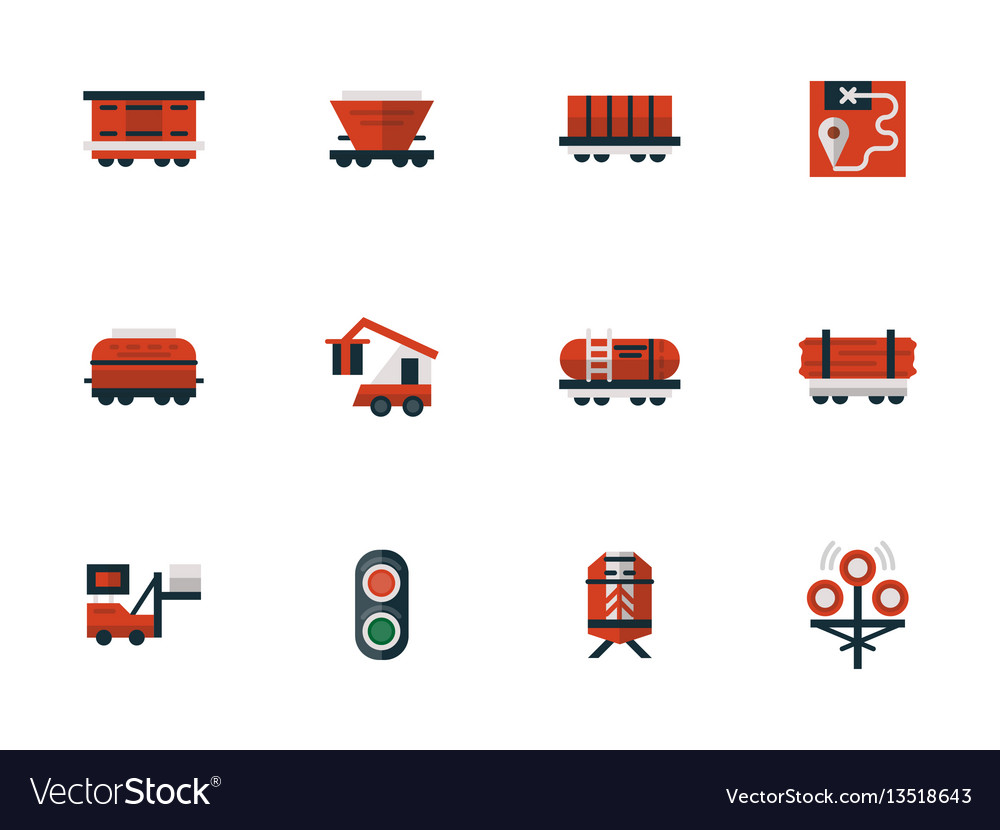 Railway flat design red icons