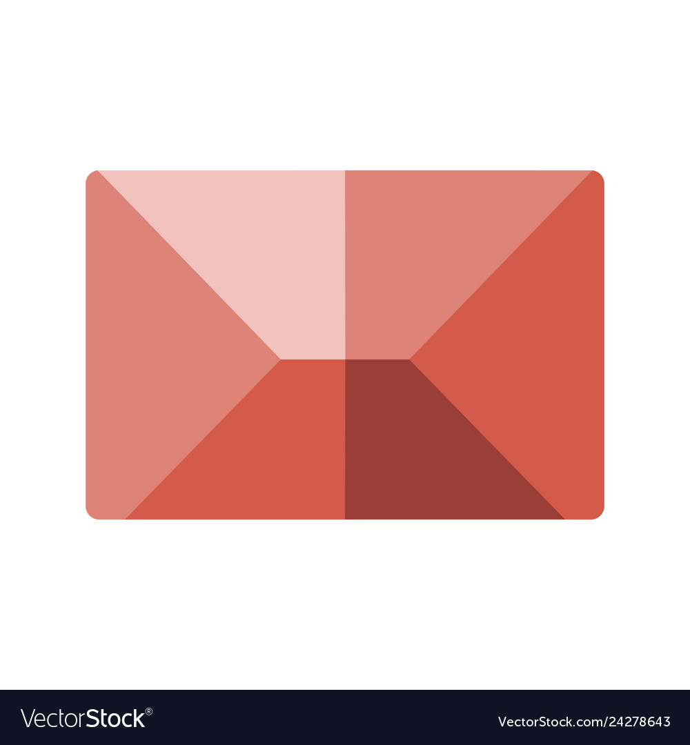 Red flat icon message envelope object
