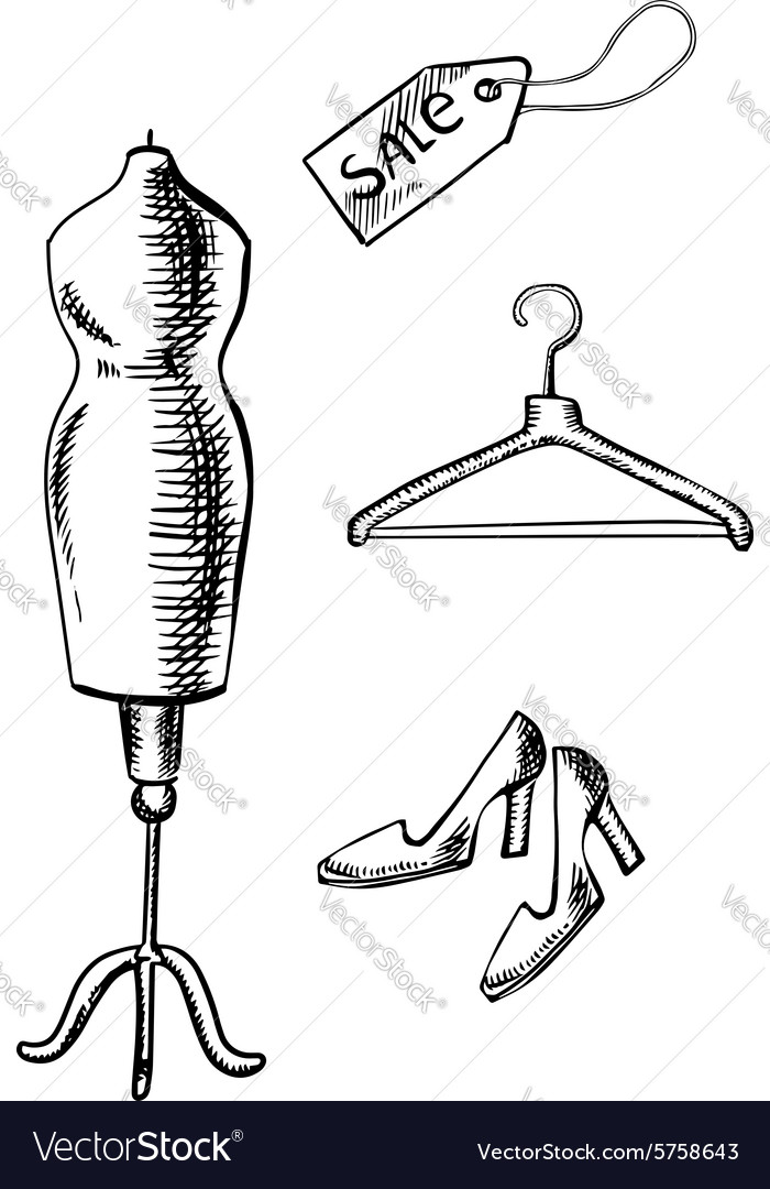 Shoes Label Hanger And Mannequin Sketch Royalty Free Vector