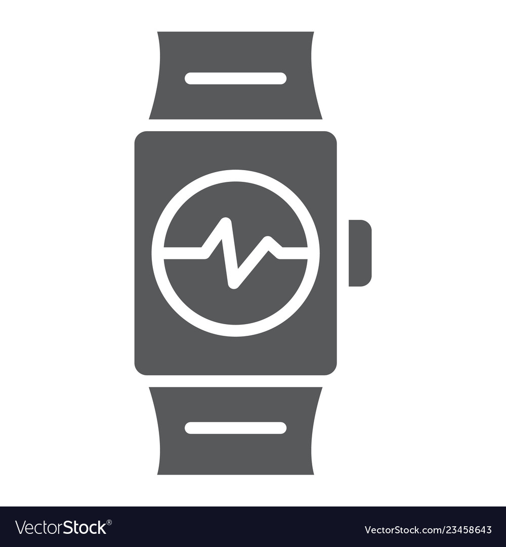 Smart watch glyph icon clock and digital gadget