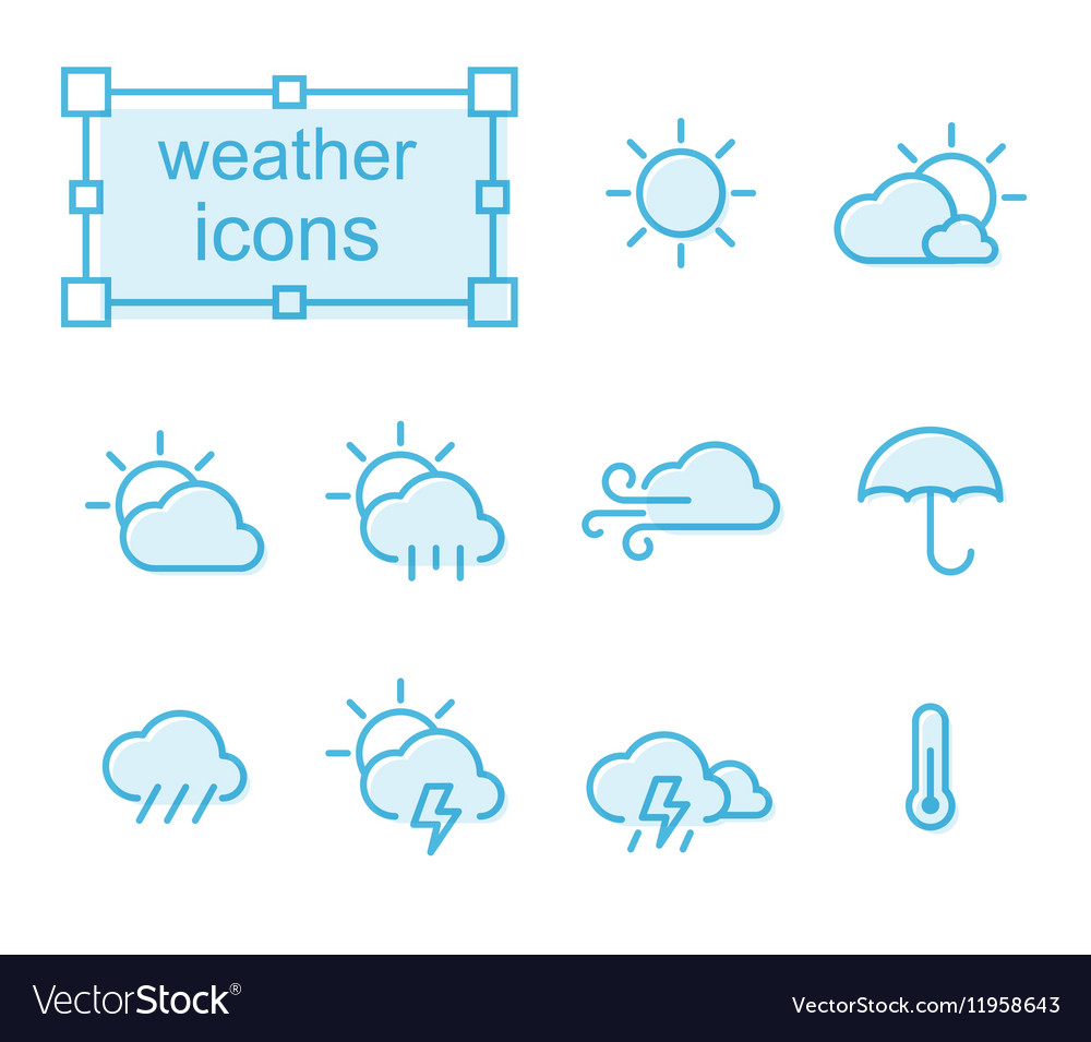 Thin line icons set weather