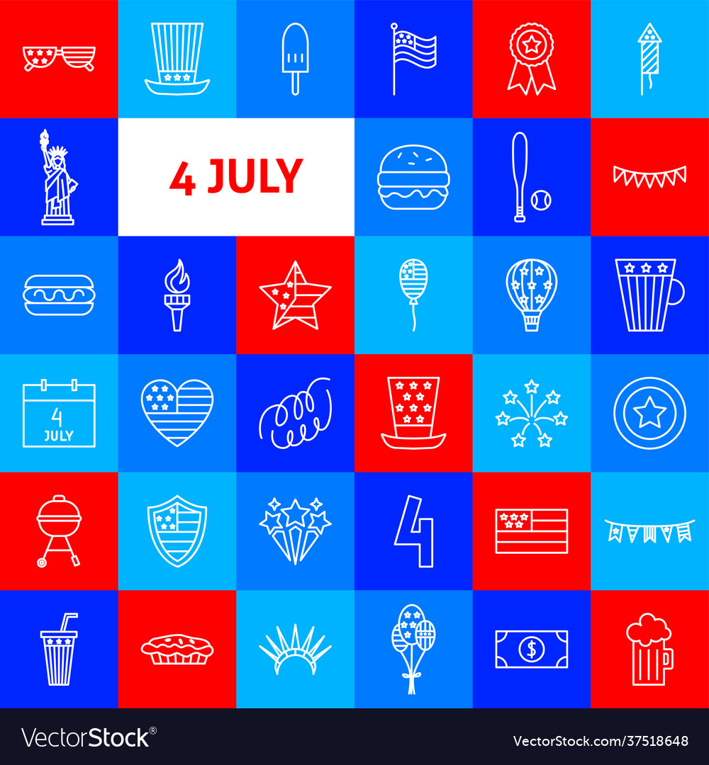 4 july line icons