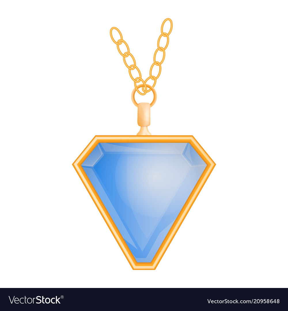 Blue topaz pendant mockup realistic style vector image