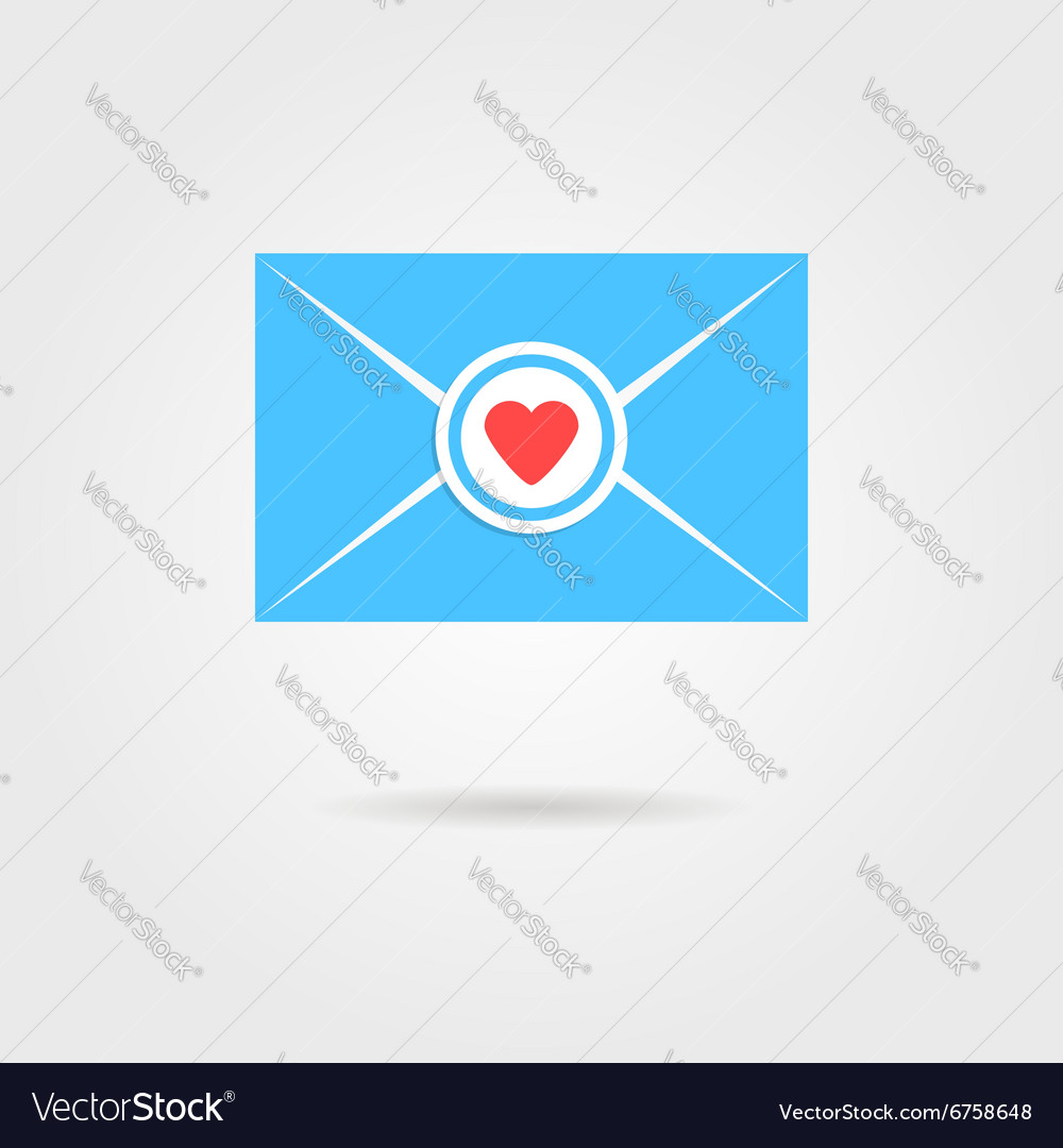 Blue valentine letter with red heart stamp