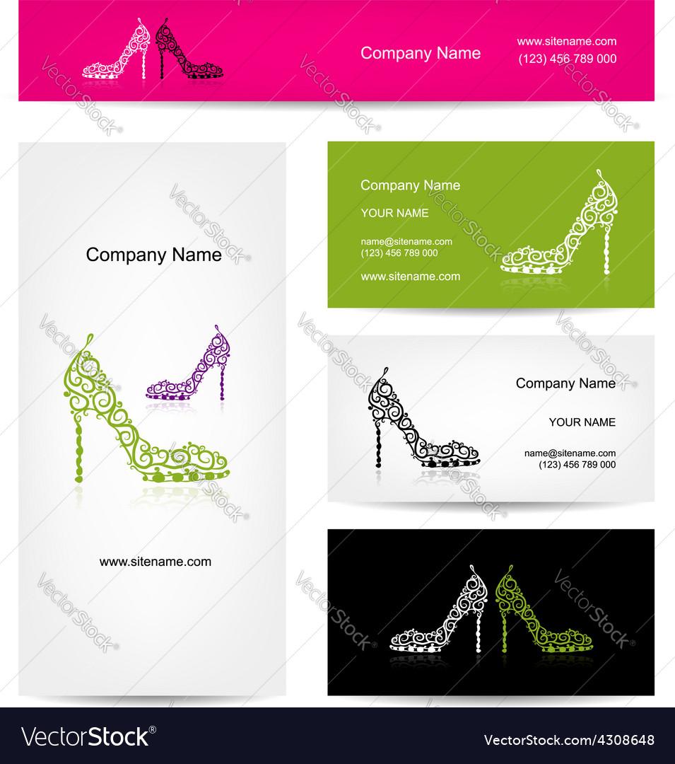 Business cards design ornate female shoes vector image colourmoves