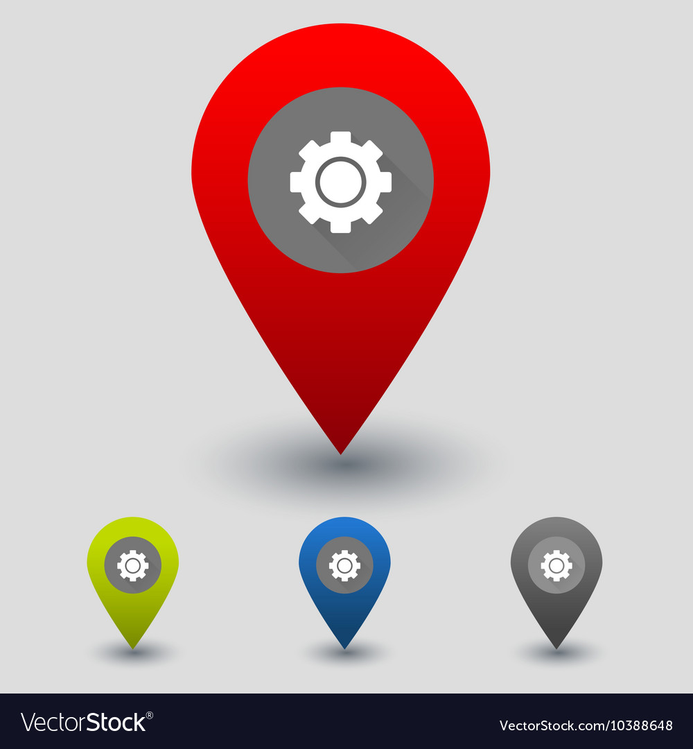 Colorful navigation signs with cogwheel