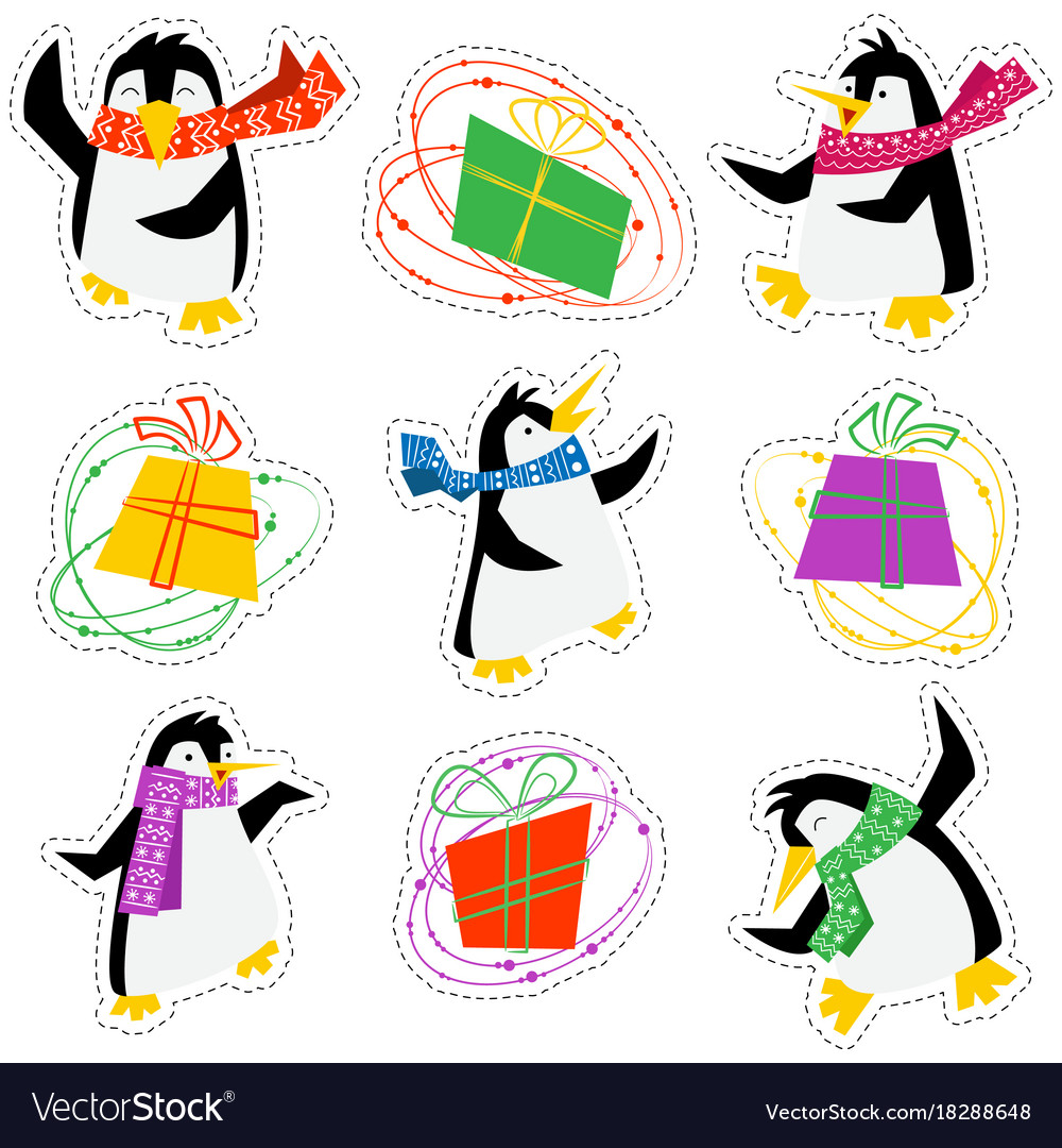 Dancing xmas penguins in a bright scarves and