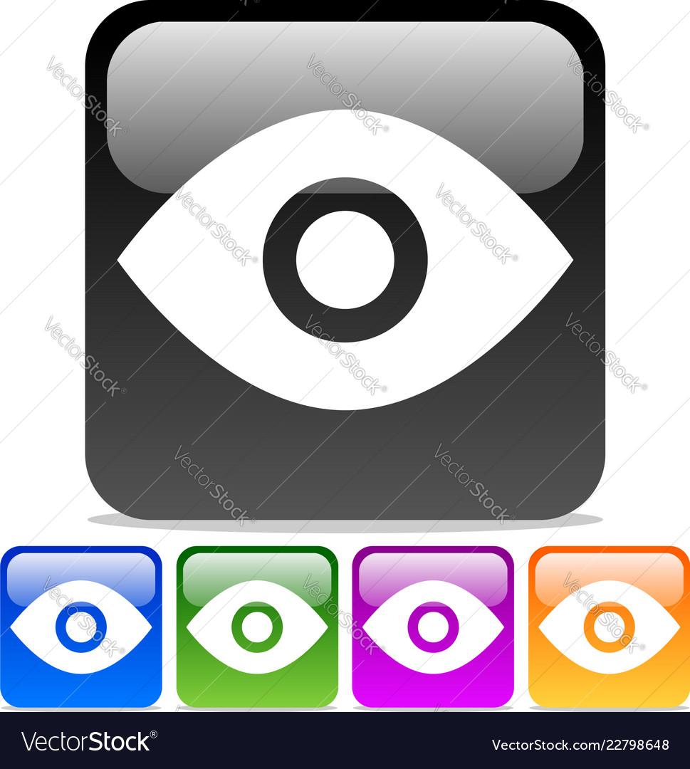 Eye icons eye symbols on glossy rounded squares