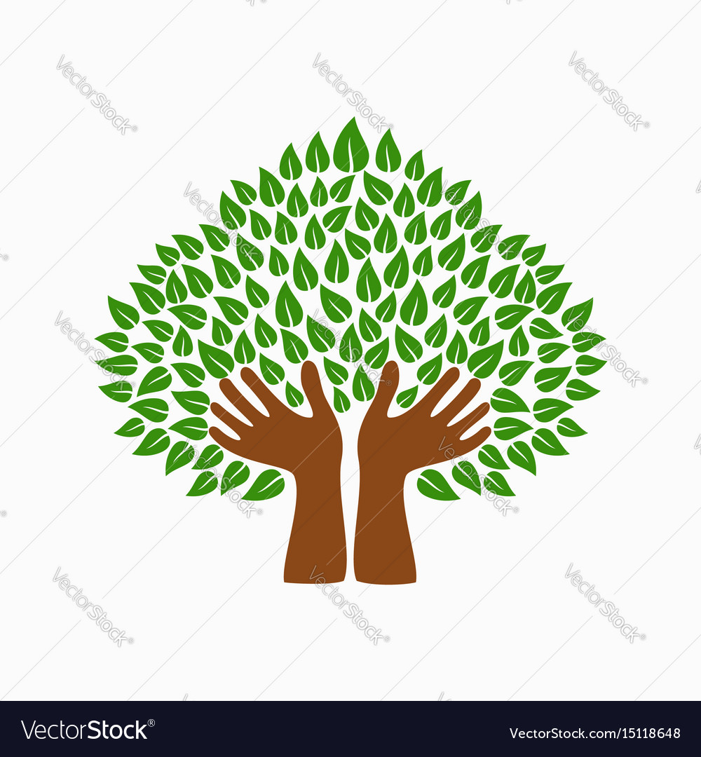 Green human hand tree symbol for community help vector image