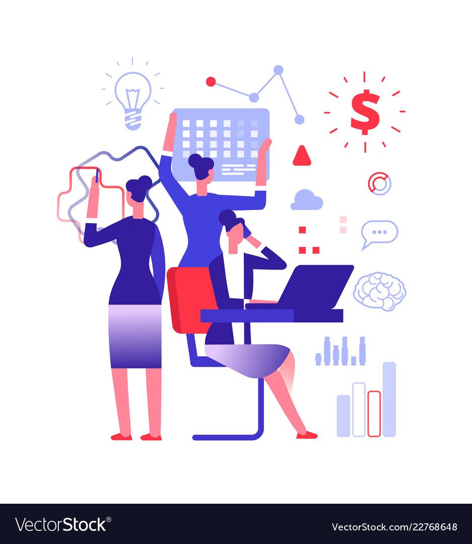 Multitasking concept businesswoman solving urgent