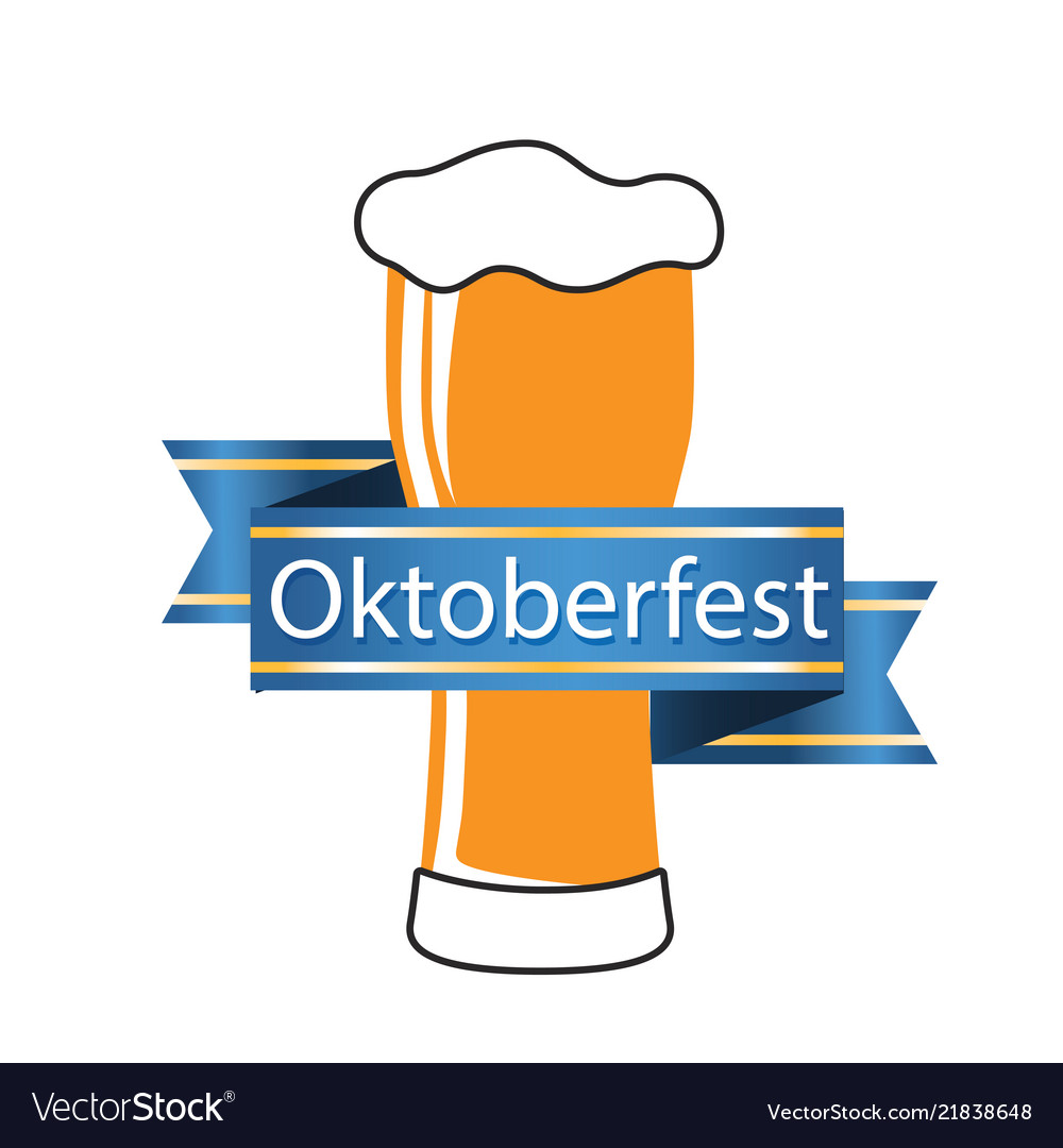 Oktoberfest blue ribbon beer mug image