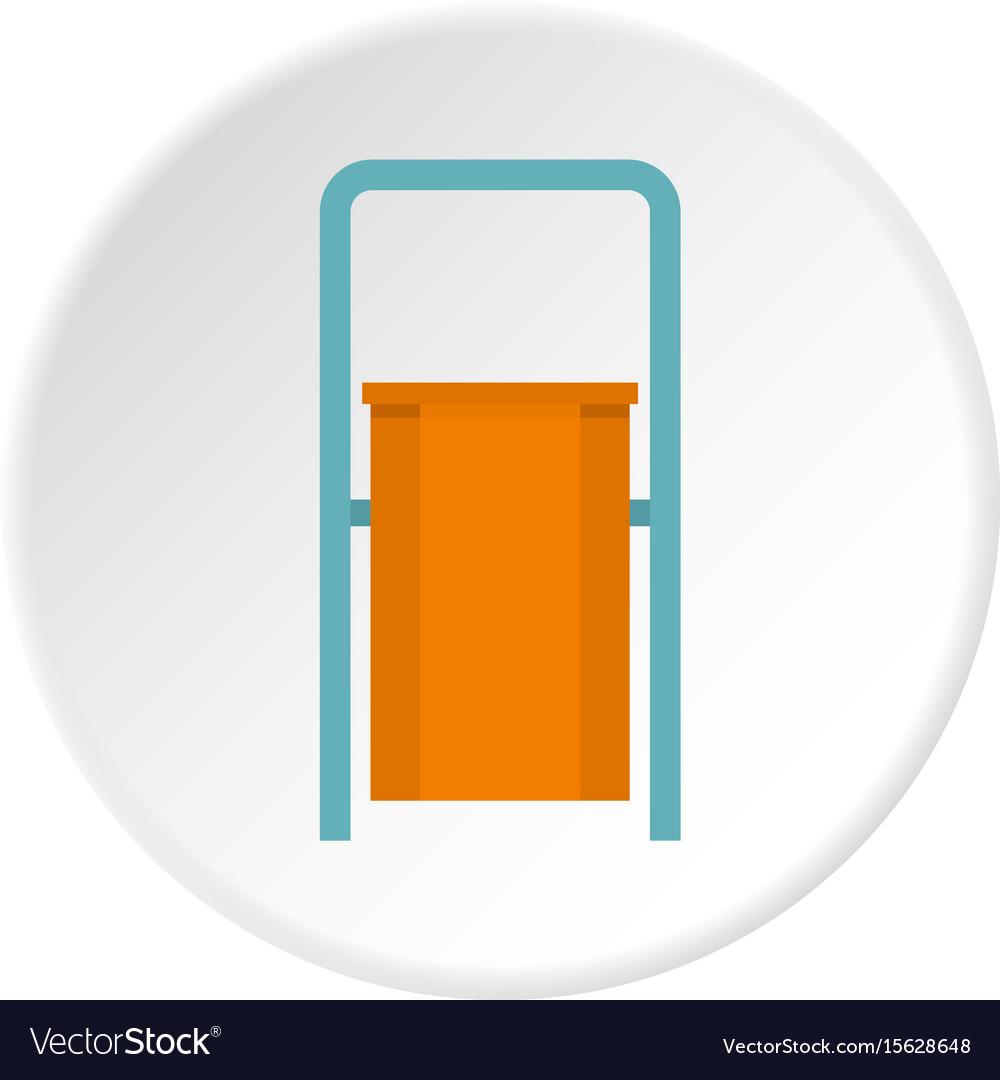 Orange public garbage bin icon circle