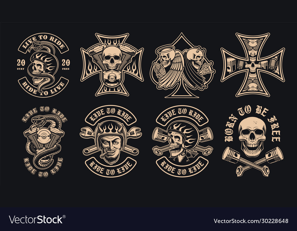 Set black and white biker emblems on a dark
