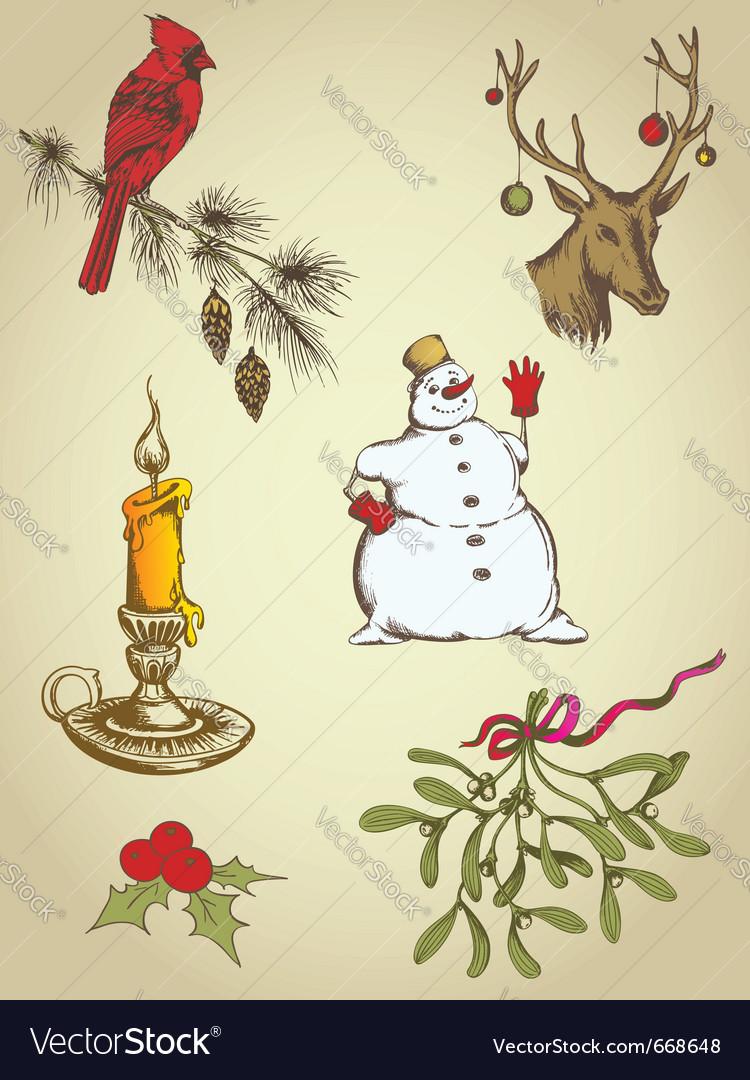 Set of vintage hand drawn christmas elements