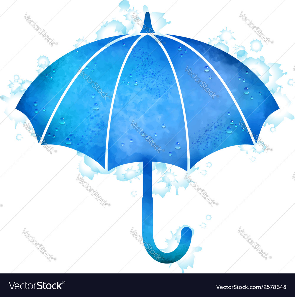 Watercolor Umbrella Rain Drops