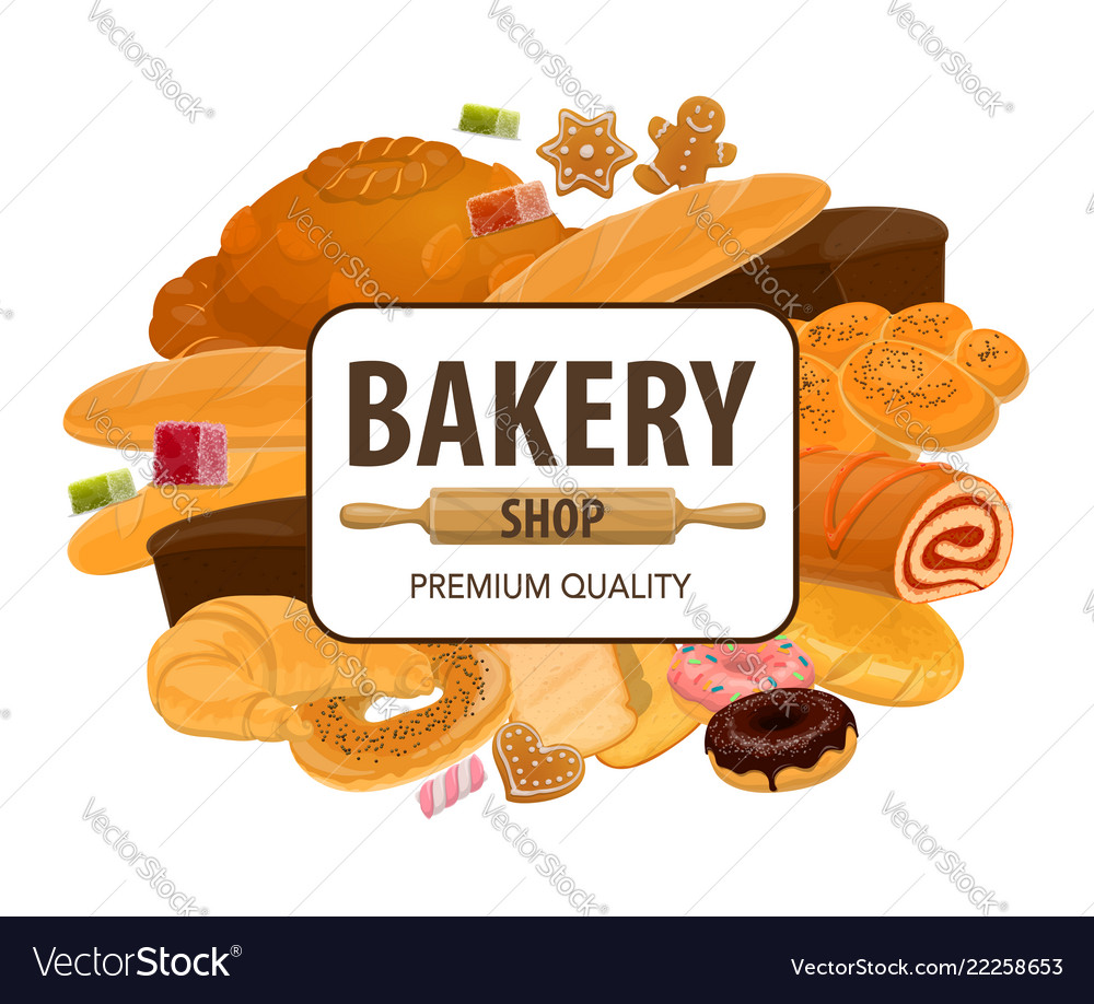 Bakery shop pastry bread and cakes