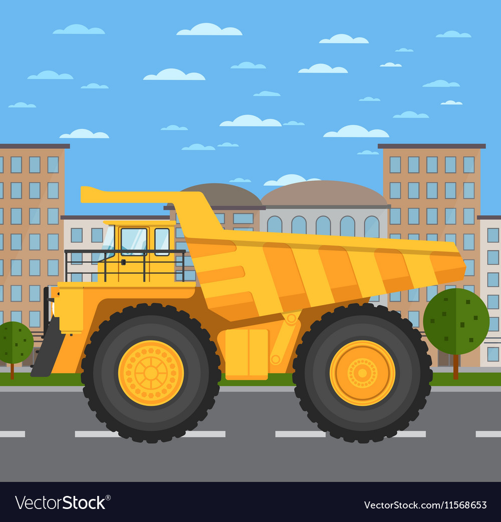 Big and heavy mining truck on road in city