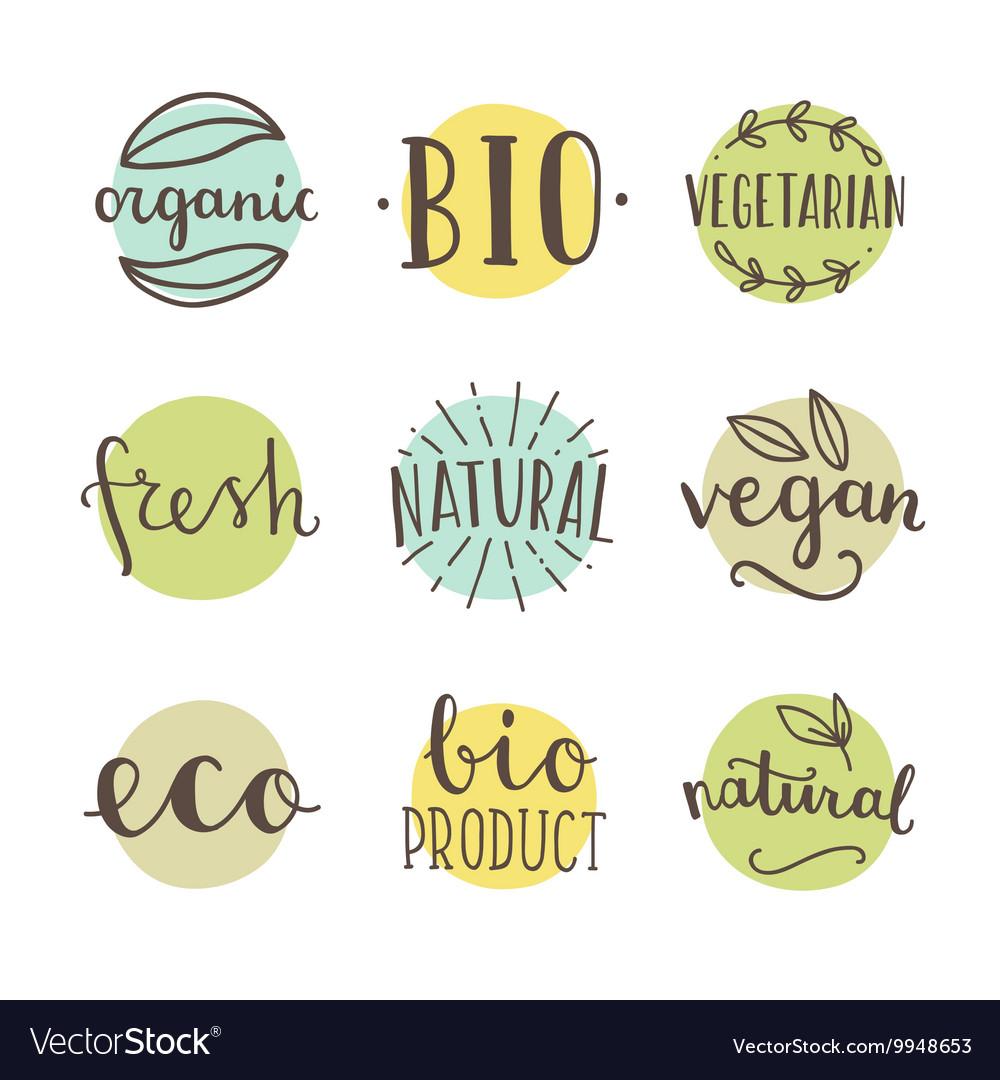 Bio organic natural Set of hand drawn