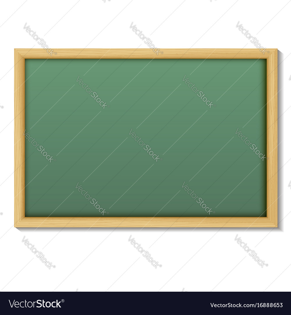 Blank chalk green board in a wood frame for write Vector Image