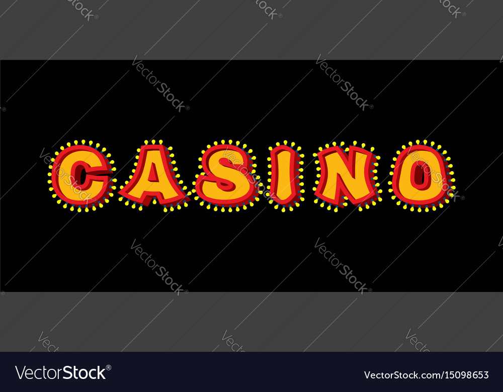 Casino sign with glowing lights retro light bulb