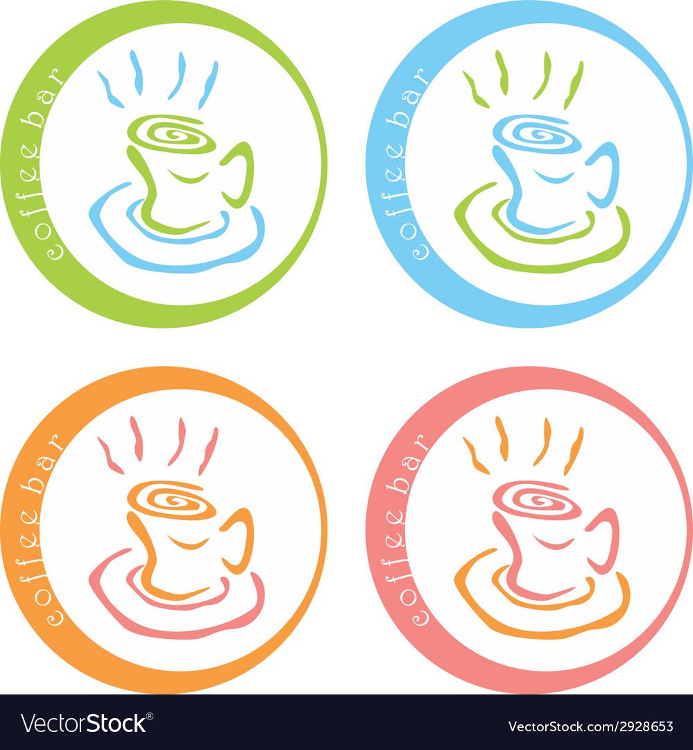 Coffee bar colorful logo desig vector image