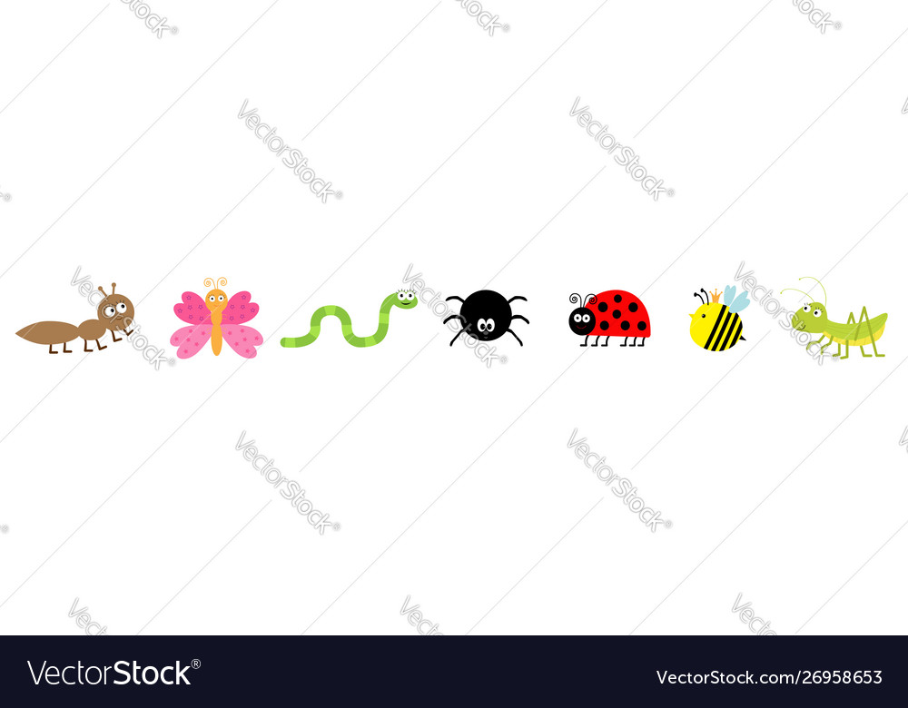Cute cartoon kawaii insect set line ladybug