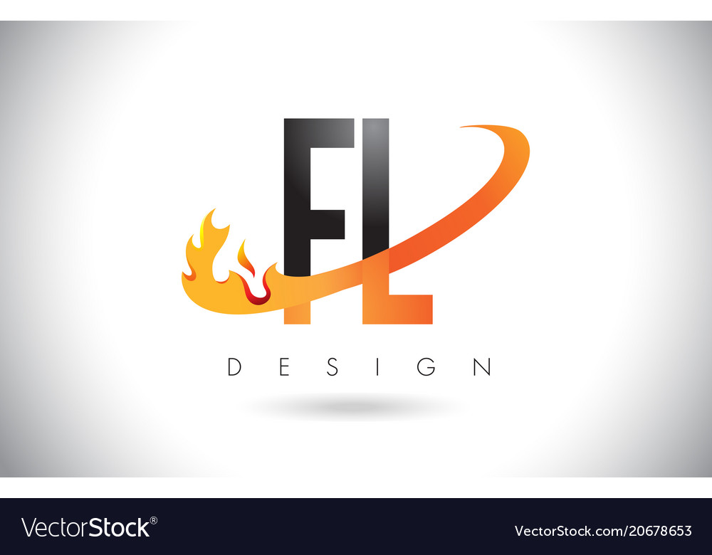 Fl f l letter logo with fire flames design and