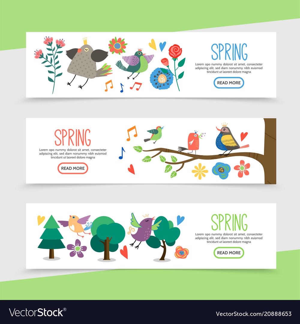 Flat hello spring horizontal banners vector image
