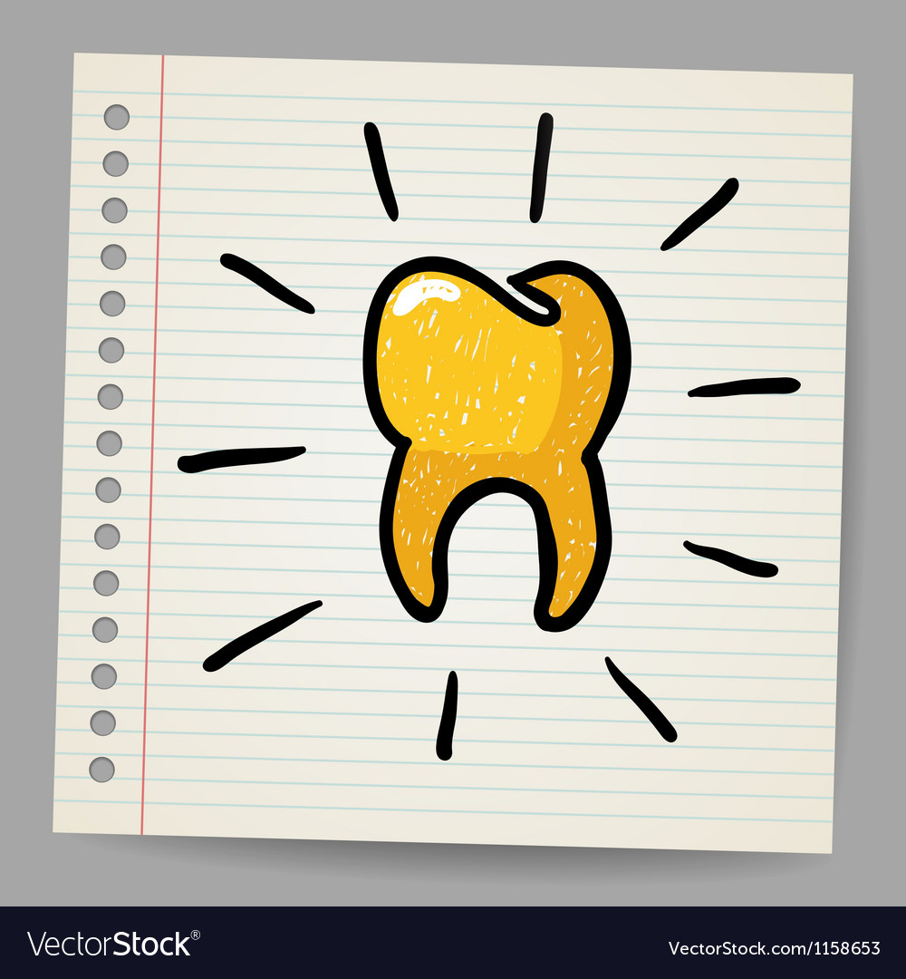 Gold Tooth Doodle Royalty Free Vector Image Vectorstock