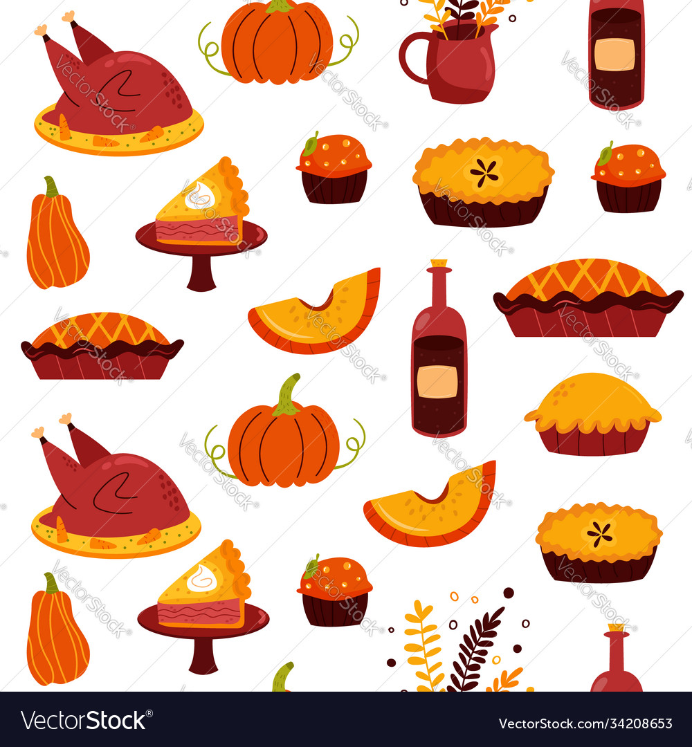 Holiday seamless pattern for thanksgiving day