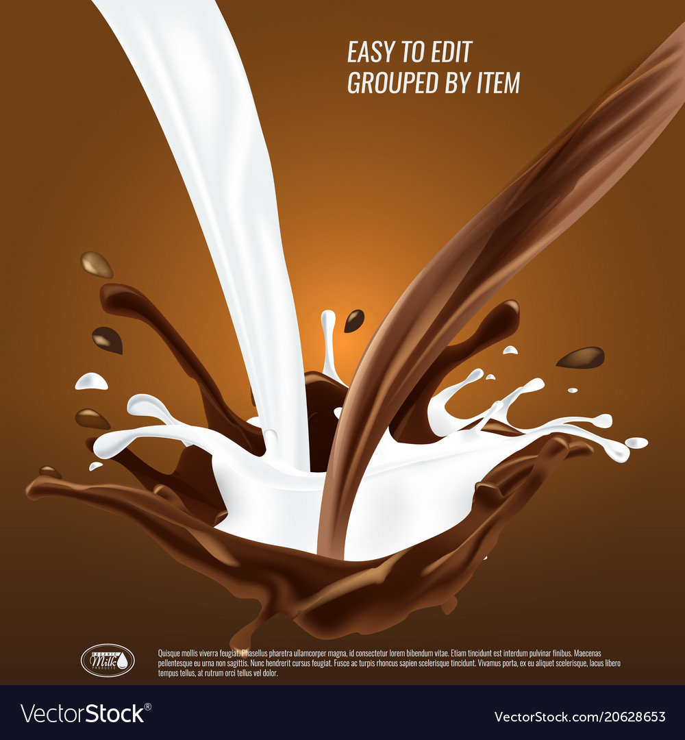 Liquid chocolate and milk flow and spash mixed 3d