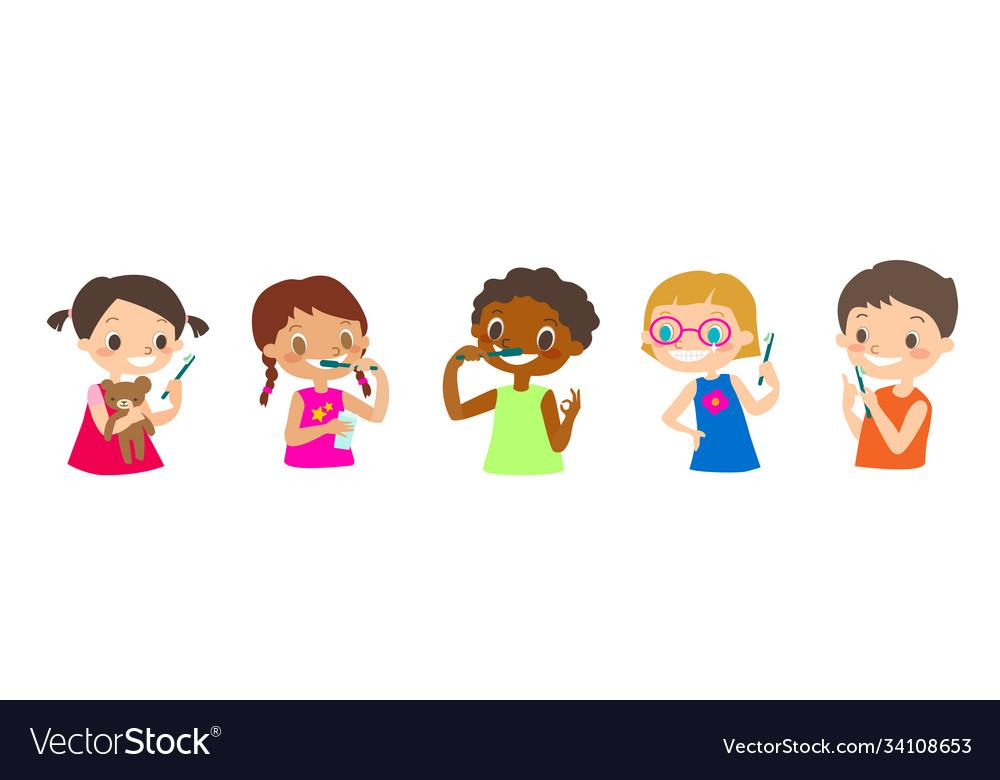 Multiracial kids brushing their teeth