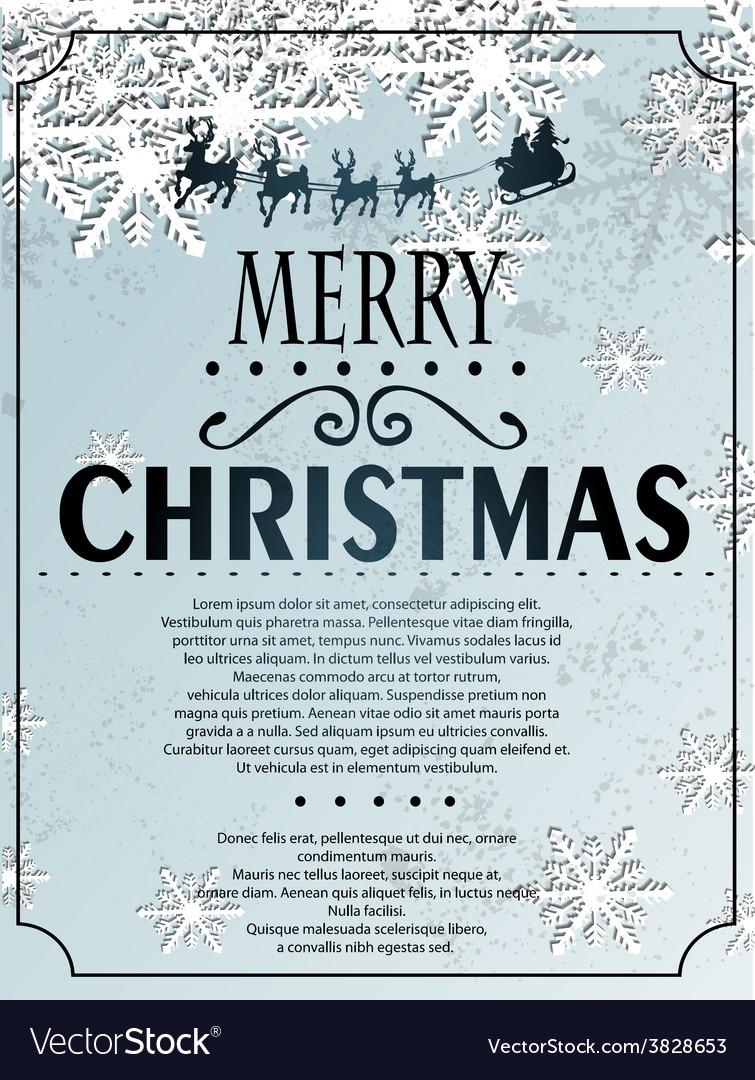 Snowlfake Christmas background vector image