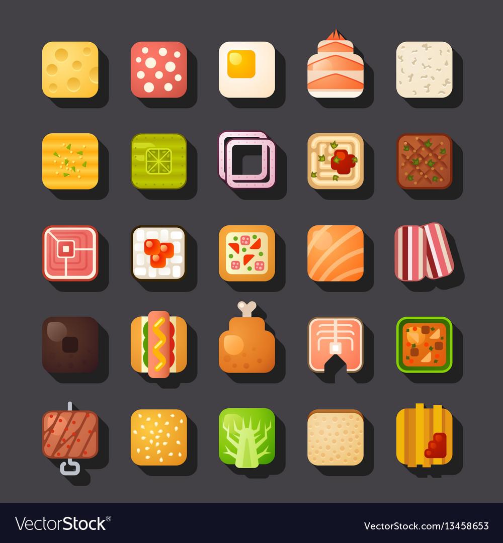 Square shaped food icon set