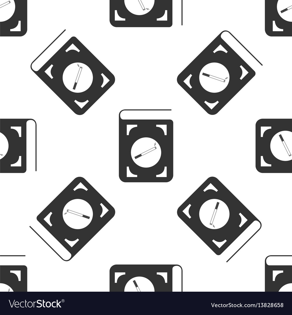 Book with cigarette icon seamless pattern on white vector image