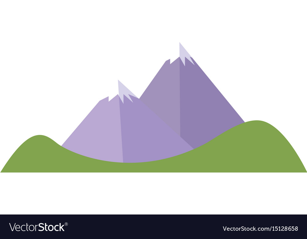 Cartoon mountain peak snow climbing natural vector image