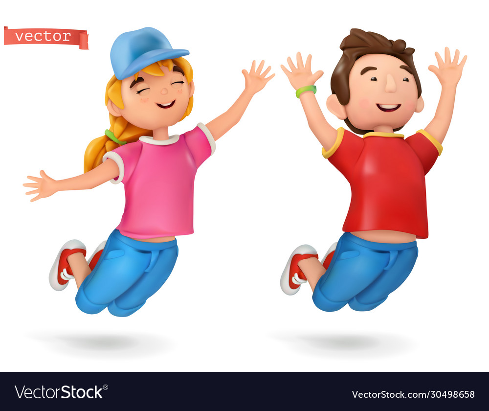Funny kids girl and boy 3d cartoon icon