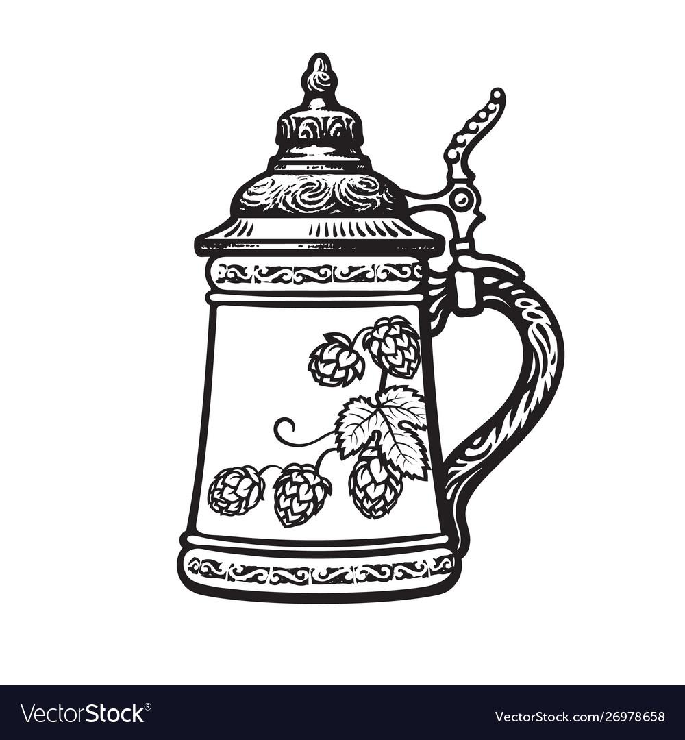 German stein beer mug black and white hand drawn