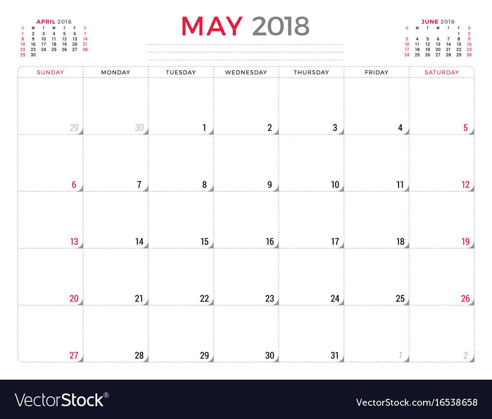 May Calendar Vector : May calendar planner design template week vector image