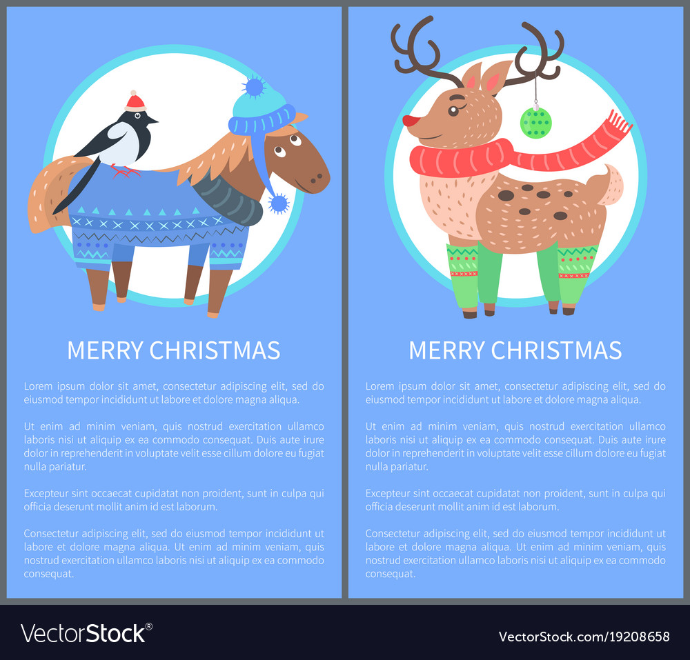 Merry christmas postcard with horse bullfinch deer