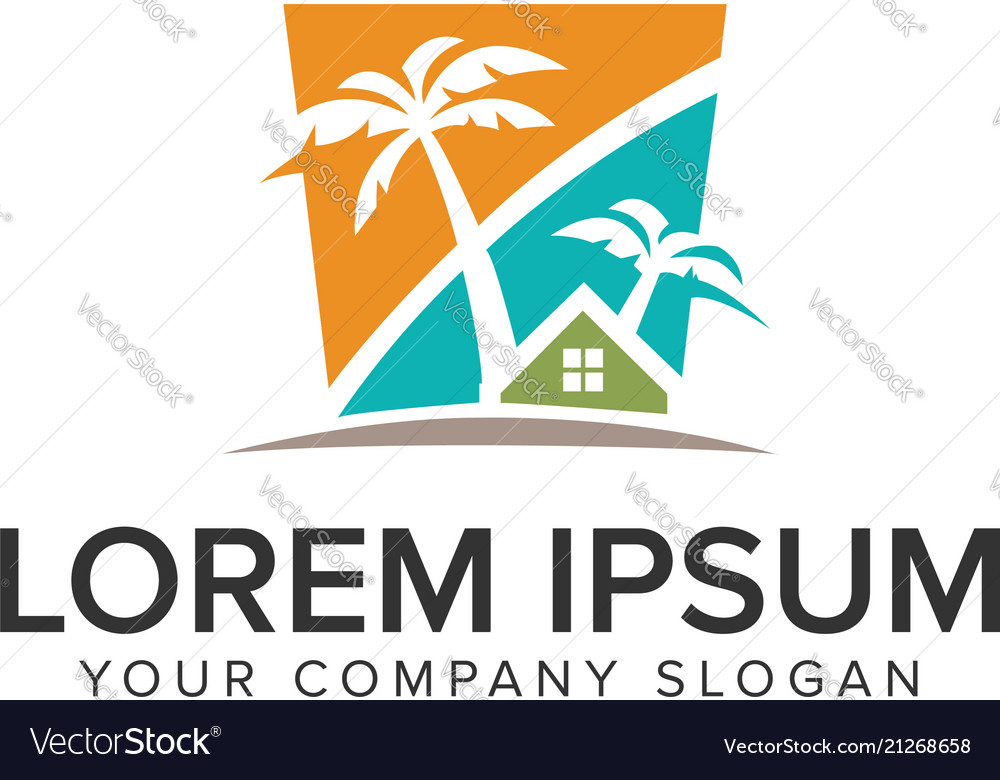 Palm tree house logo design concept template